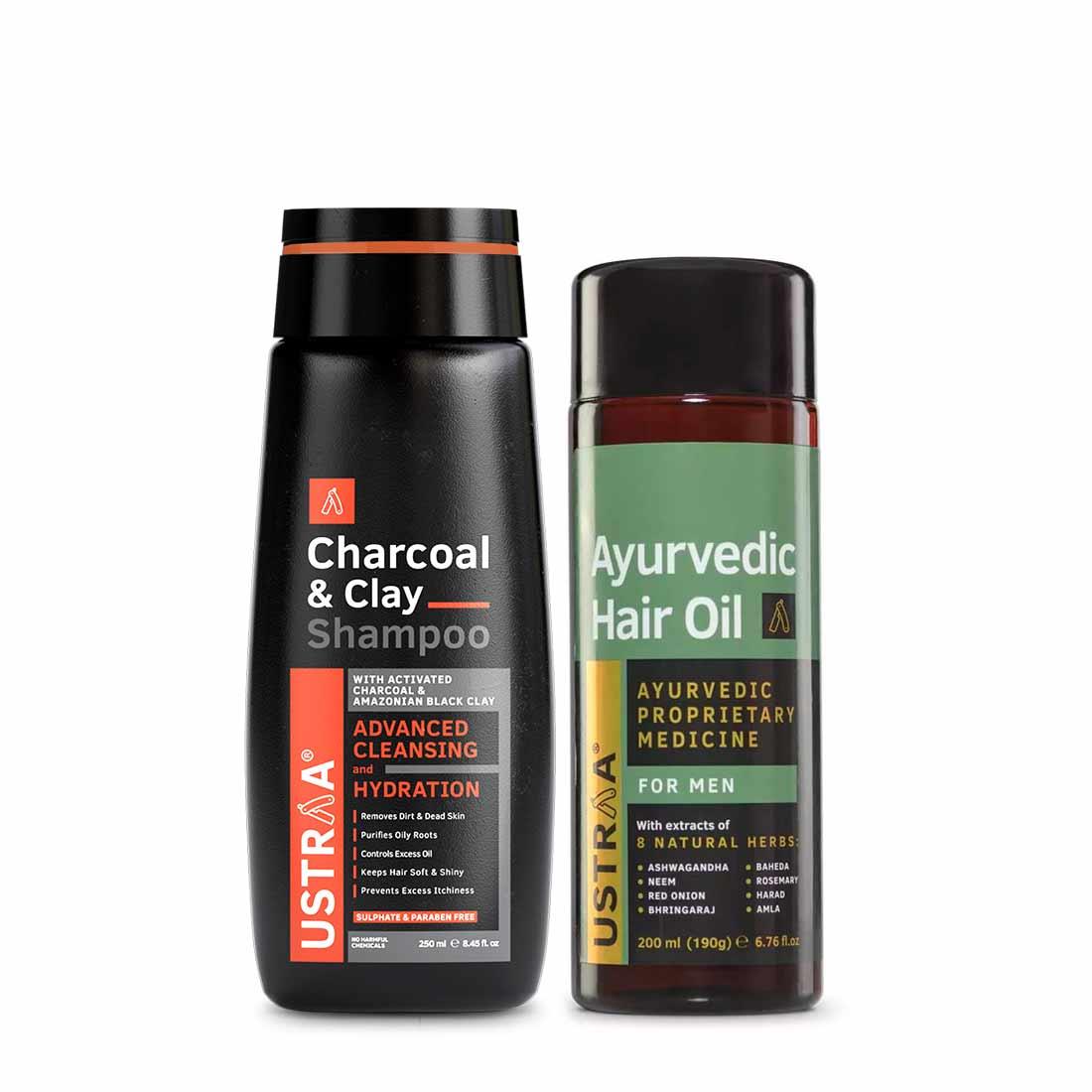 Ayurvedic Hair Oil & Charcoal & Clay Shampoo