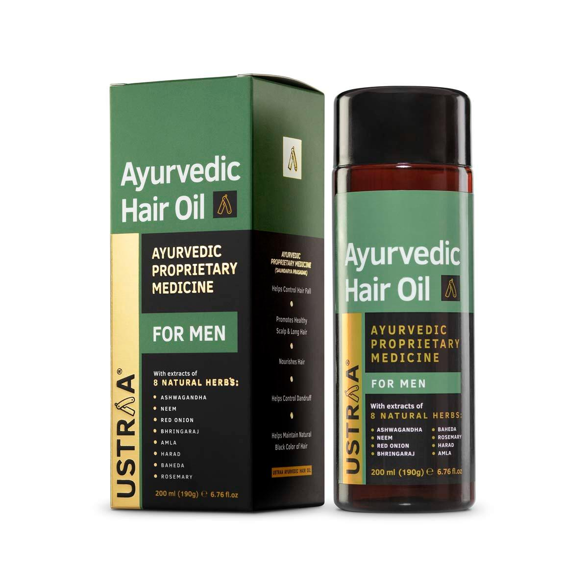 Ustraa's Ayurvedic Hair Oil for Men 200 ml - With Ayurvedic Ingredients like Sushruta, Charak, and Bhrigu