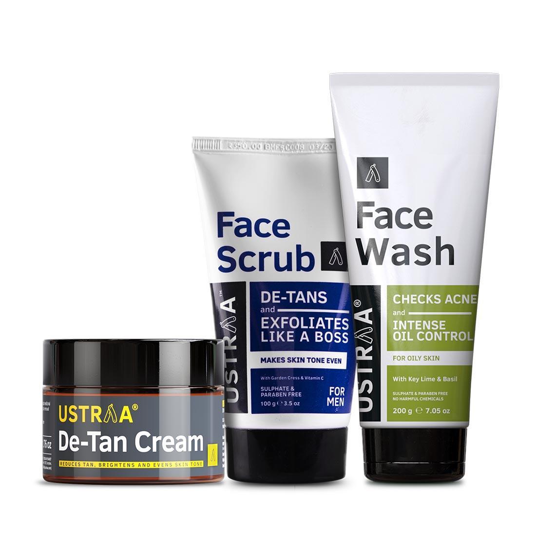 Ustraa De-Tan & Anti Pollutant Kit for Men (Set of 3): Face Scrub, Face Wash, and De-Tan Cream