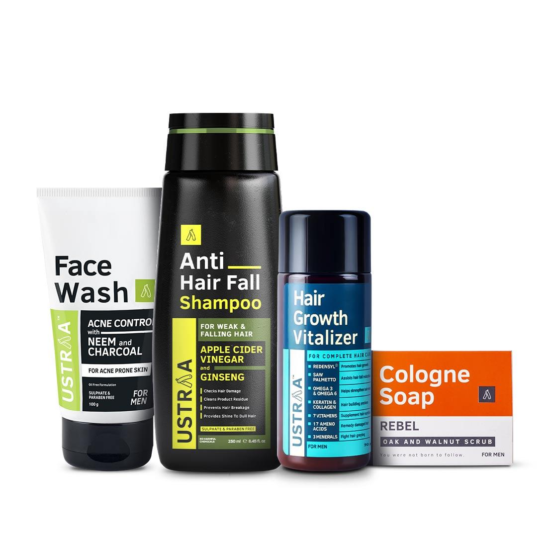 Ustraa Monthly Essential Kit For Men | Hair Growth Vitalizer, Acne Control Face Wash, Anti Hair-Fall Shampoo & Cologne Soap- Rebel