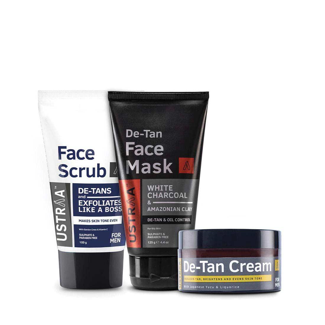 Ustraa Complete De-Tan Kit for Men (Pack of 3): Face Scrub, Face Mask, and De-tan Cream