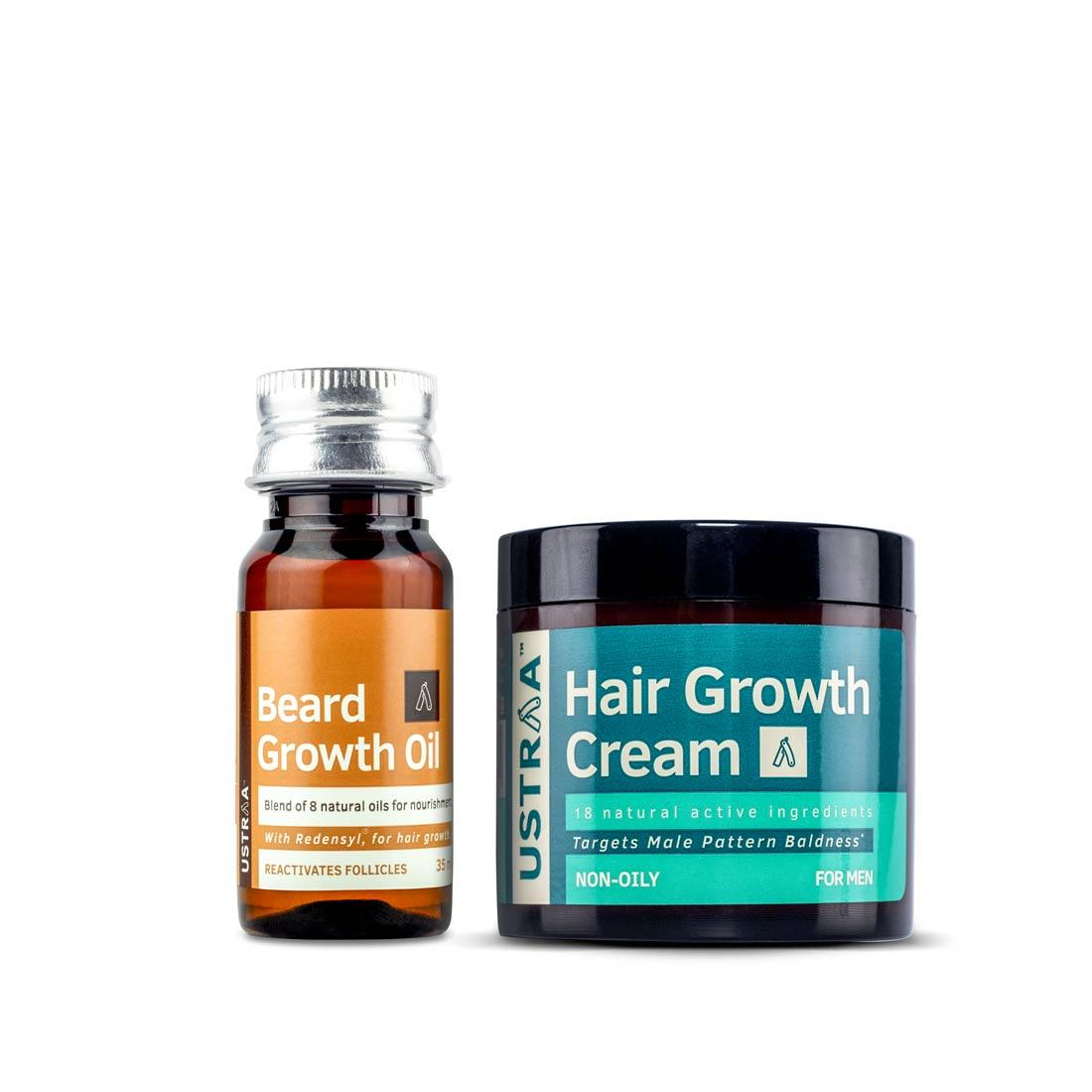 Ustraa Beard Growth Oil and Hair Growth Cream Combo for Men: With Redensyl, Saw Palmetto, Natural Oils & Onion Extract