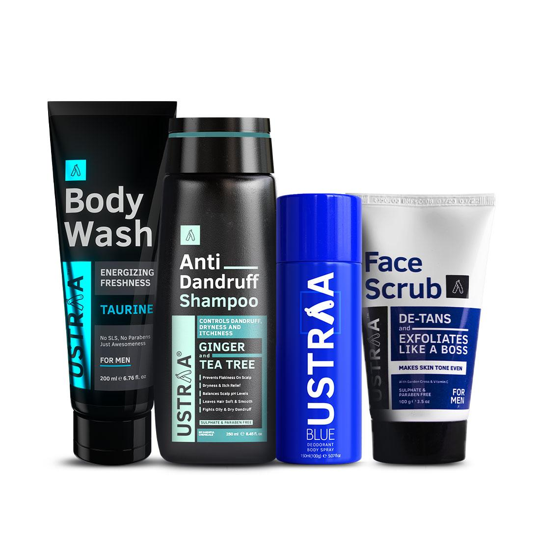Ustraa Men Monthly Essential Kit (Pack of 4): Deo Blue, De-Tan Face Scrub, Anti-dandruff Shampoo, and Body Wash Taurine