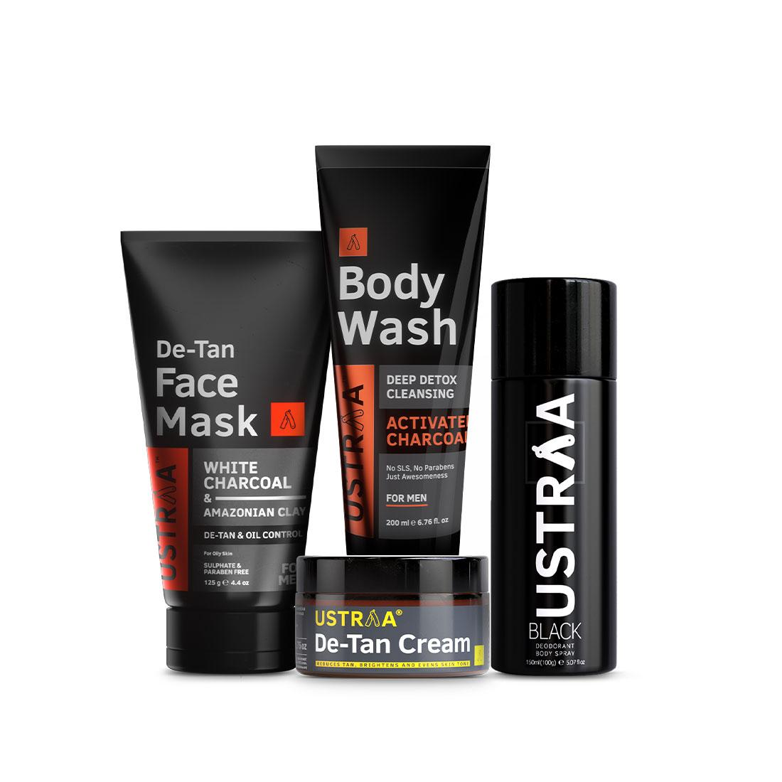 Ustraa 4-in-1 Monthly Essential Kit for Men | Deo Black, Body Wash Activated Charcoal, Face Mask Oily Skin & De-Tan Cream