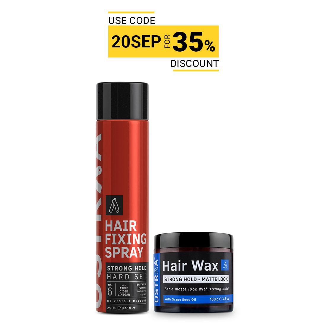 Ustraa Hair Styling Kit For Men (Matte Look): Hair Fixing Spray + Hair Wax