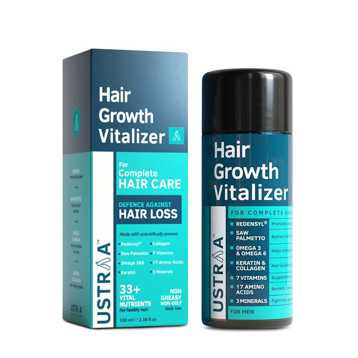 Ustraa Hair Growth Vitalizer with Redensyl, Keratin, Vitamins and Saw Palmetto to Prevent Hair Fall and Boosts Hair Growth , 100ml