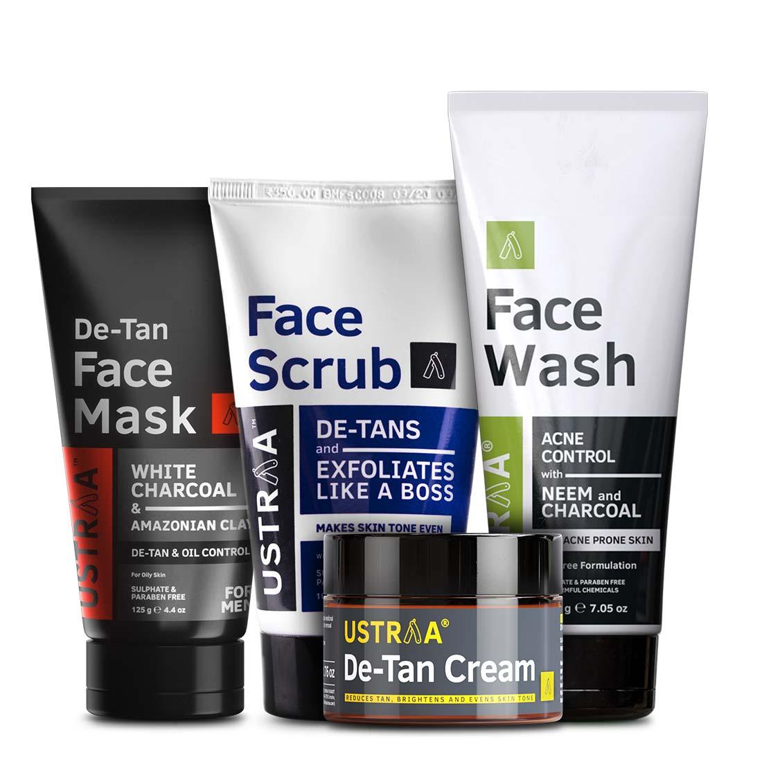 Ustraa Complete De-Tan Solution for Men (Set of 4): Face Wash + De-Tan Face Mask + Face Scrub + De-tan Cream