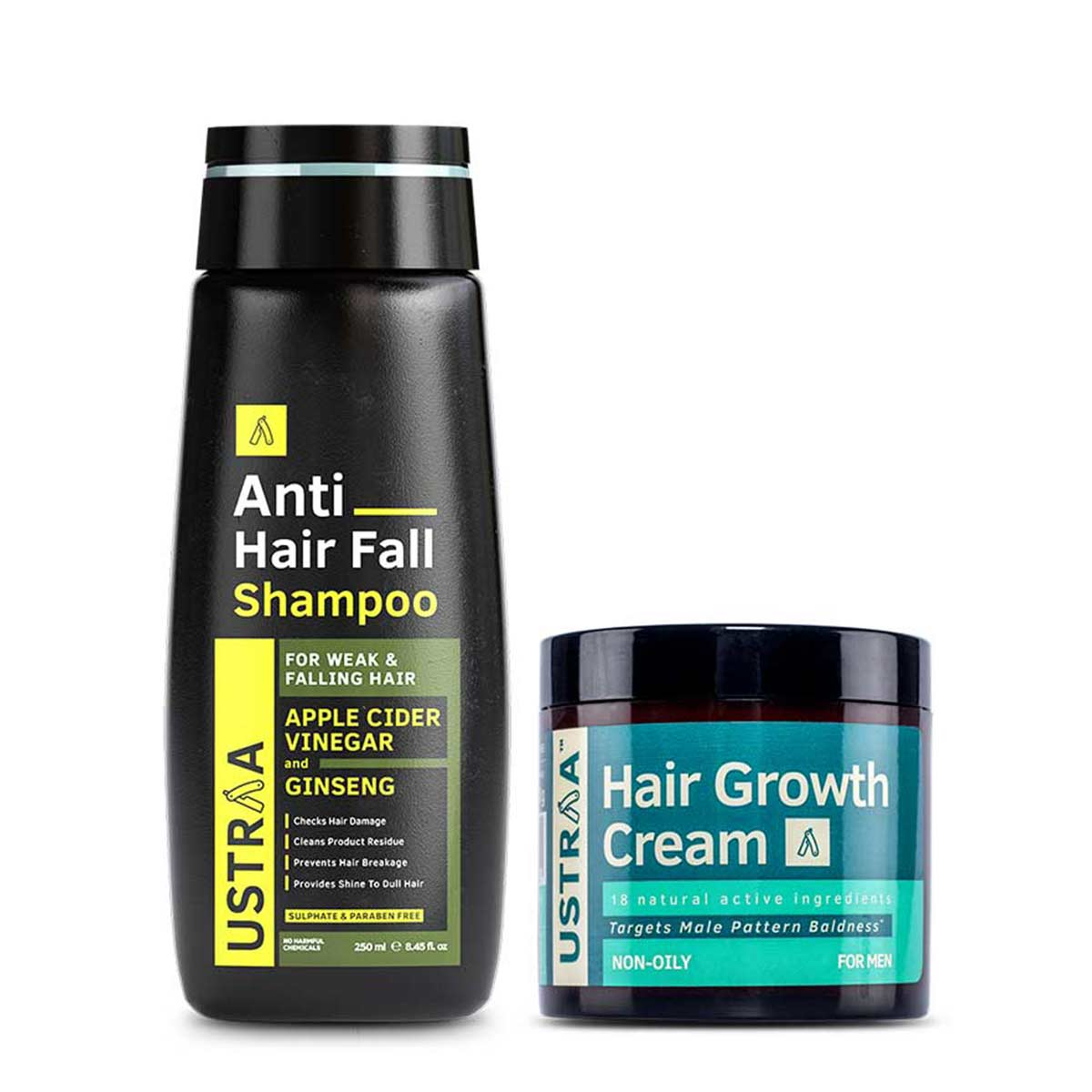Ustraa Ultimate Hair Care Combo for Men with Anti Hairfall Shampoo and Hair Growth Vitalizer