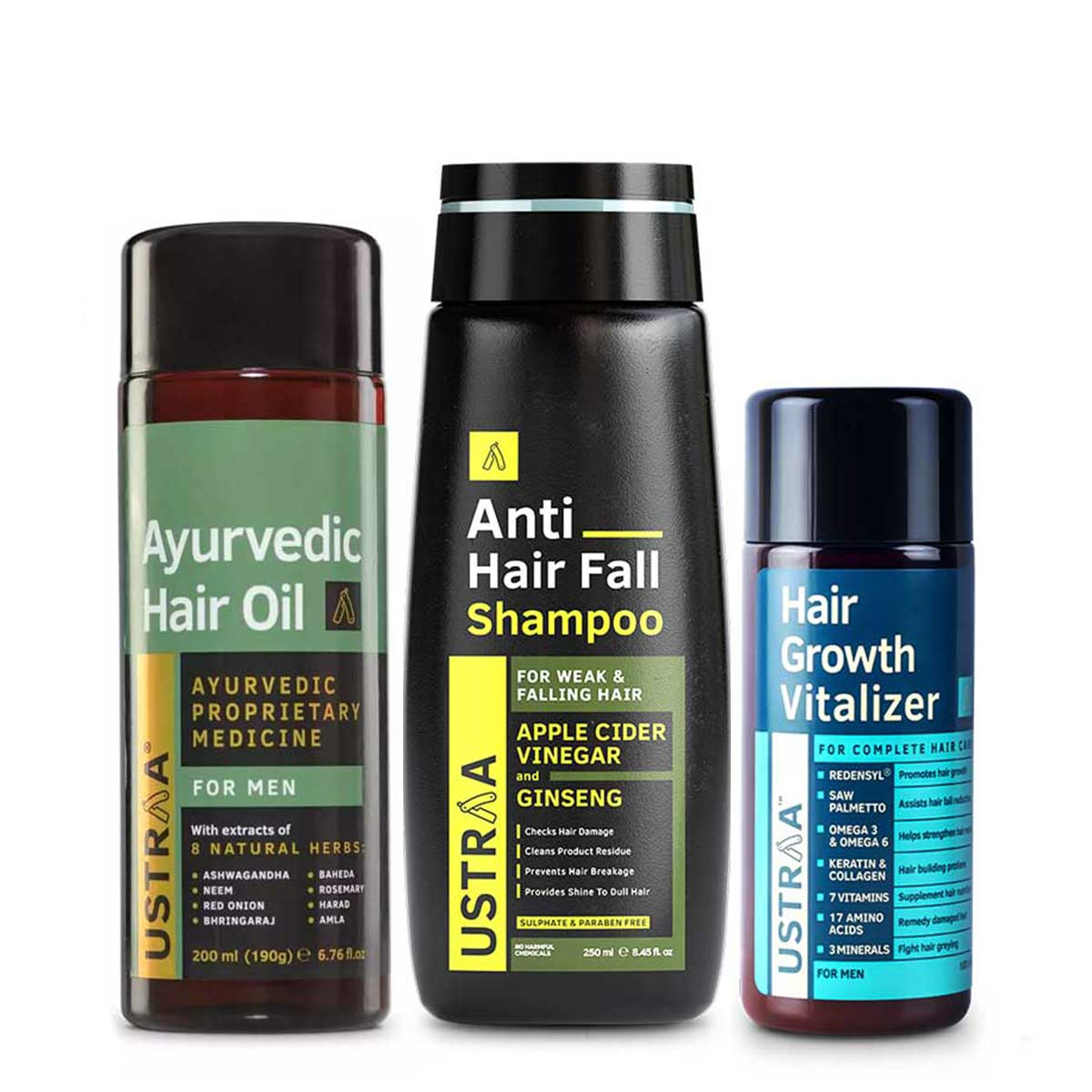 Ustraa Complete Hair Growth & Protection Kit For Men (Set of 3): Hair Growth Vitalizer, Anti Hair Fall Shampoo, and Ayurvedic Hair Oil