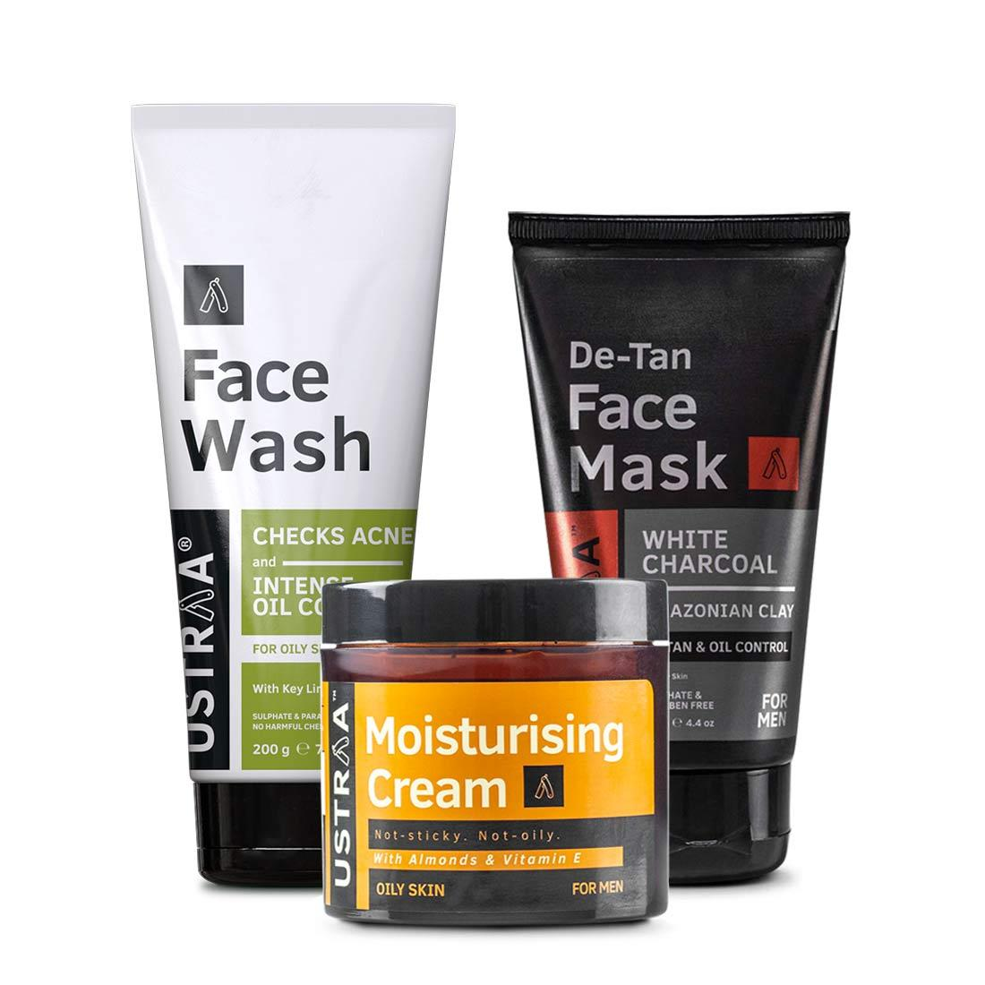 Ustraa Complete Oily Skin Care Kit For Men (Set of 3): Oil Control Face Wash, Moisturizing Cream, and De-Tan Face Mask