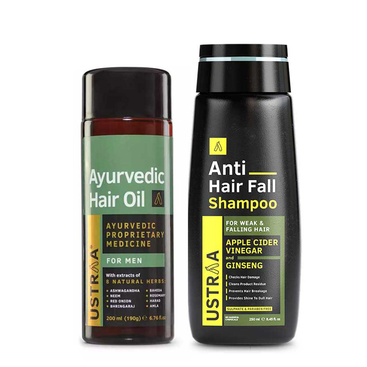 Ustraa Complete Hair Care Combo For Men | Ayurvedic Hair Oil and Anti Hair Fall Shampoo