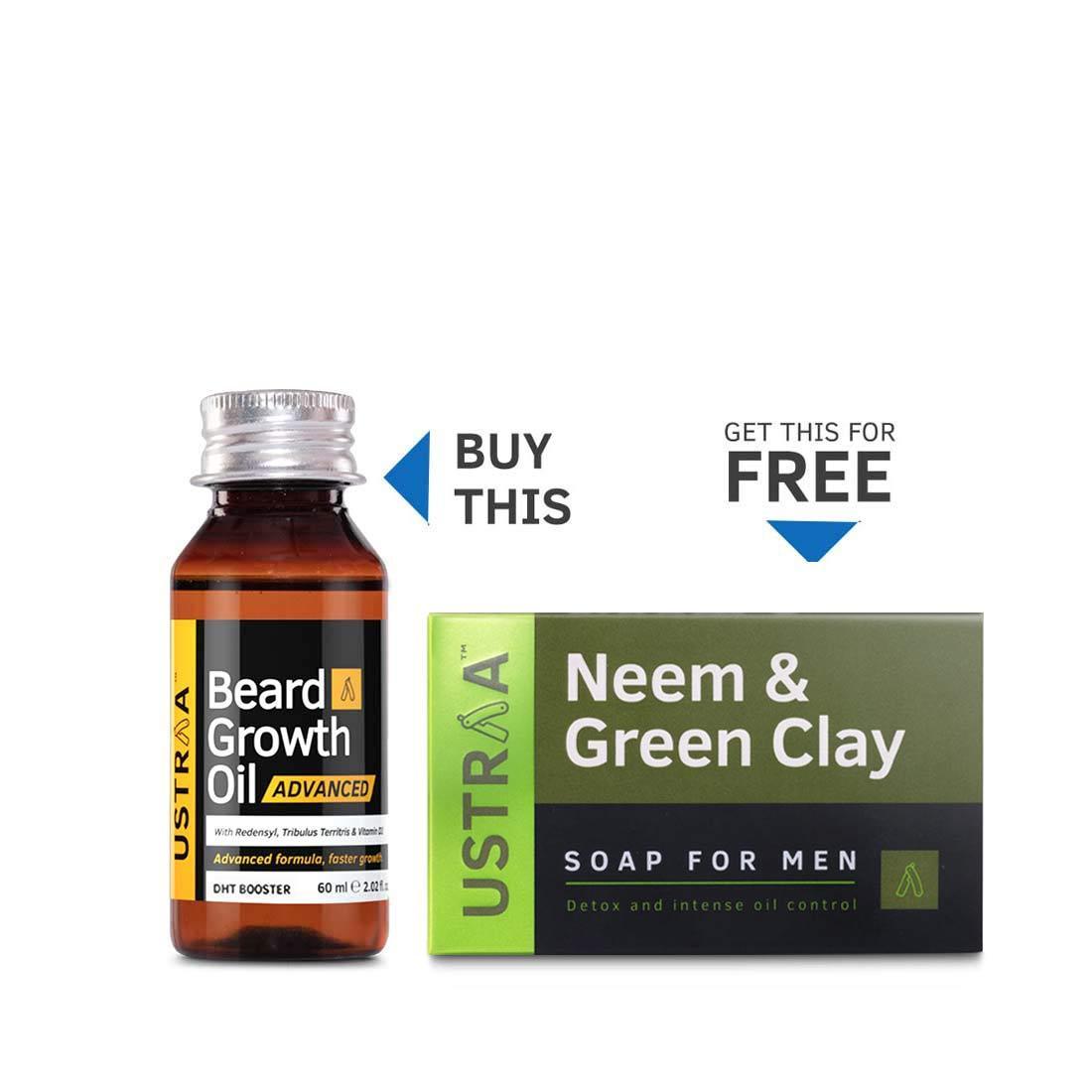 Beard Growth Oil- Advanced (Get Neem & Green Clay Deo Soap Free)