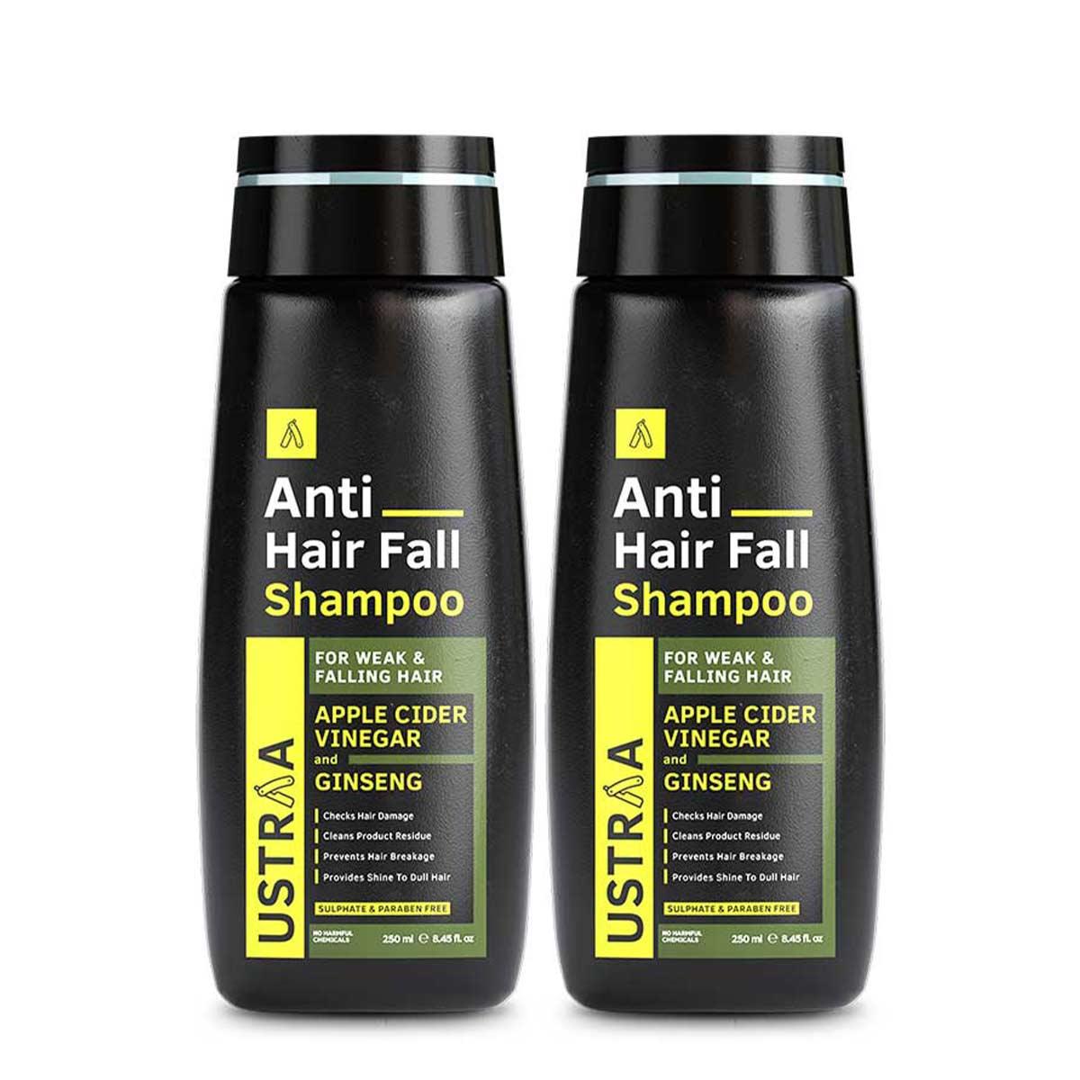 Ustraa Anti Hair Fall Shampoo for Men (250 ml), Set of 2: With Apple Cider Vinegar