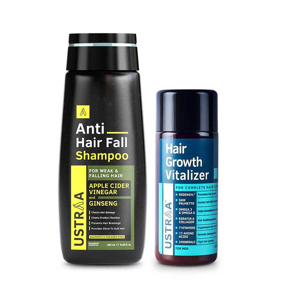 Ustraa Complete Hair Fall Kit for Men   Hair Growth Vitalizer (100 ml) + Anti-fall Shampoo (250 ml)