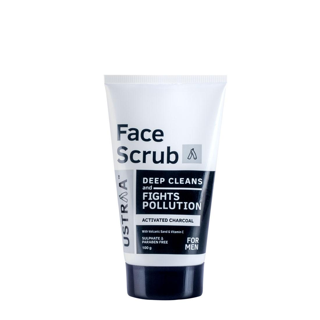 Ustraa Activated Charcoal Face Scrub 100 g - A Face Scrub for men with Volcanic Sand and Walnut Granules to free your skin of Toxins and Pollution