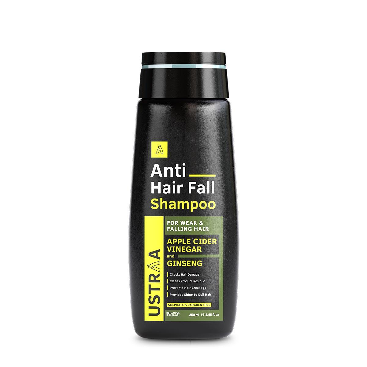 Ustraa Anti Hair Fall Shampoo with Apple Cider Vinegar for Hair Fall Control and Hair Loss Reduction, 250ml