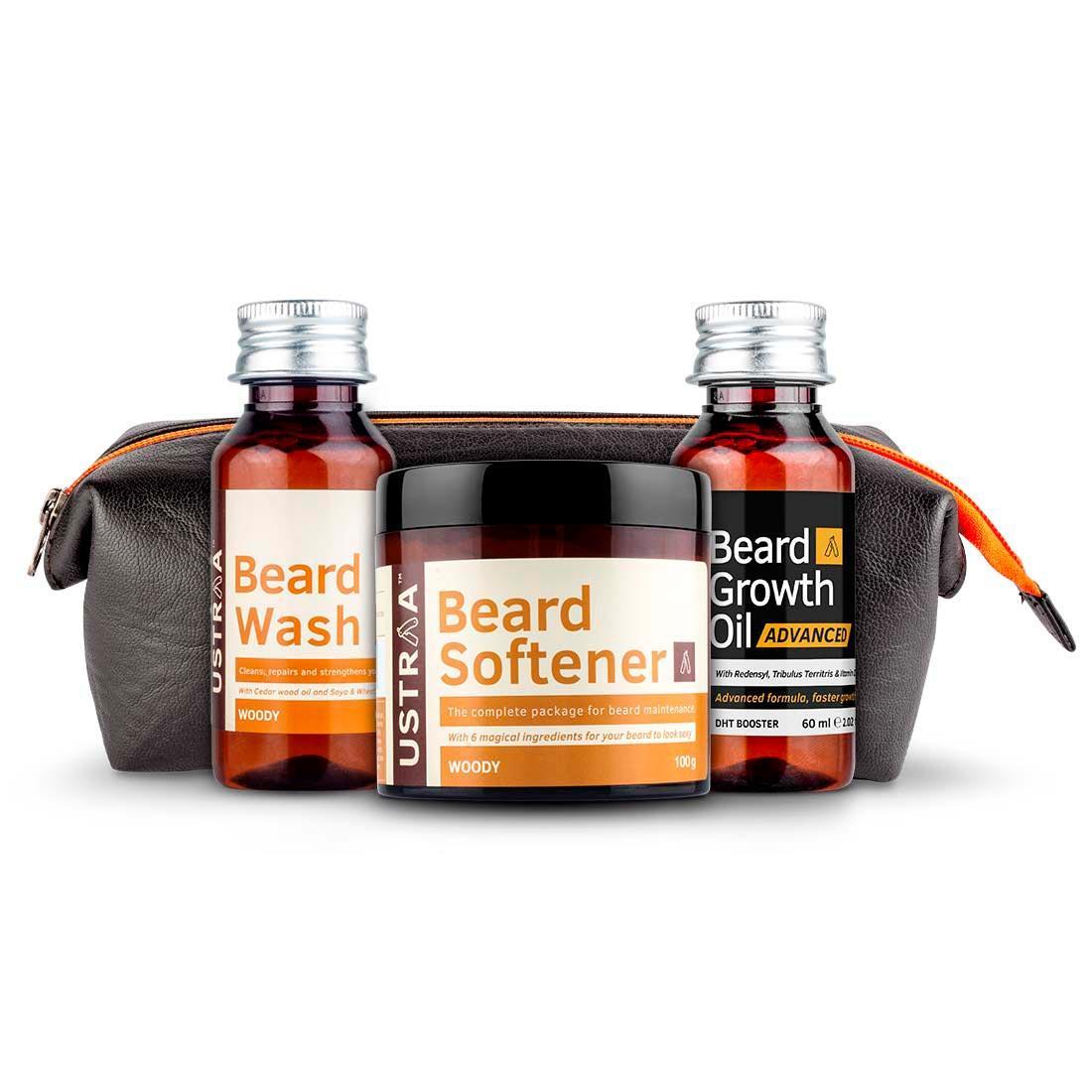 Ustraa Advance Beard Care Pack for Men: Beard Growth Oil-Advance, Beard Softener (Woody), Beard Wash (Woody)
