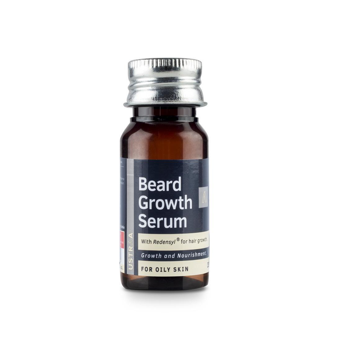 USTRAA Beard Growth Serum (Oily Skin) 35 ml - With Redensyl for Acne-prone & Sensitive Skin, Boosts Beard Growth, Beard Nourishment and Moisturization