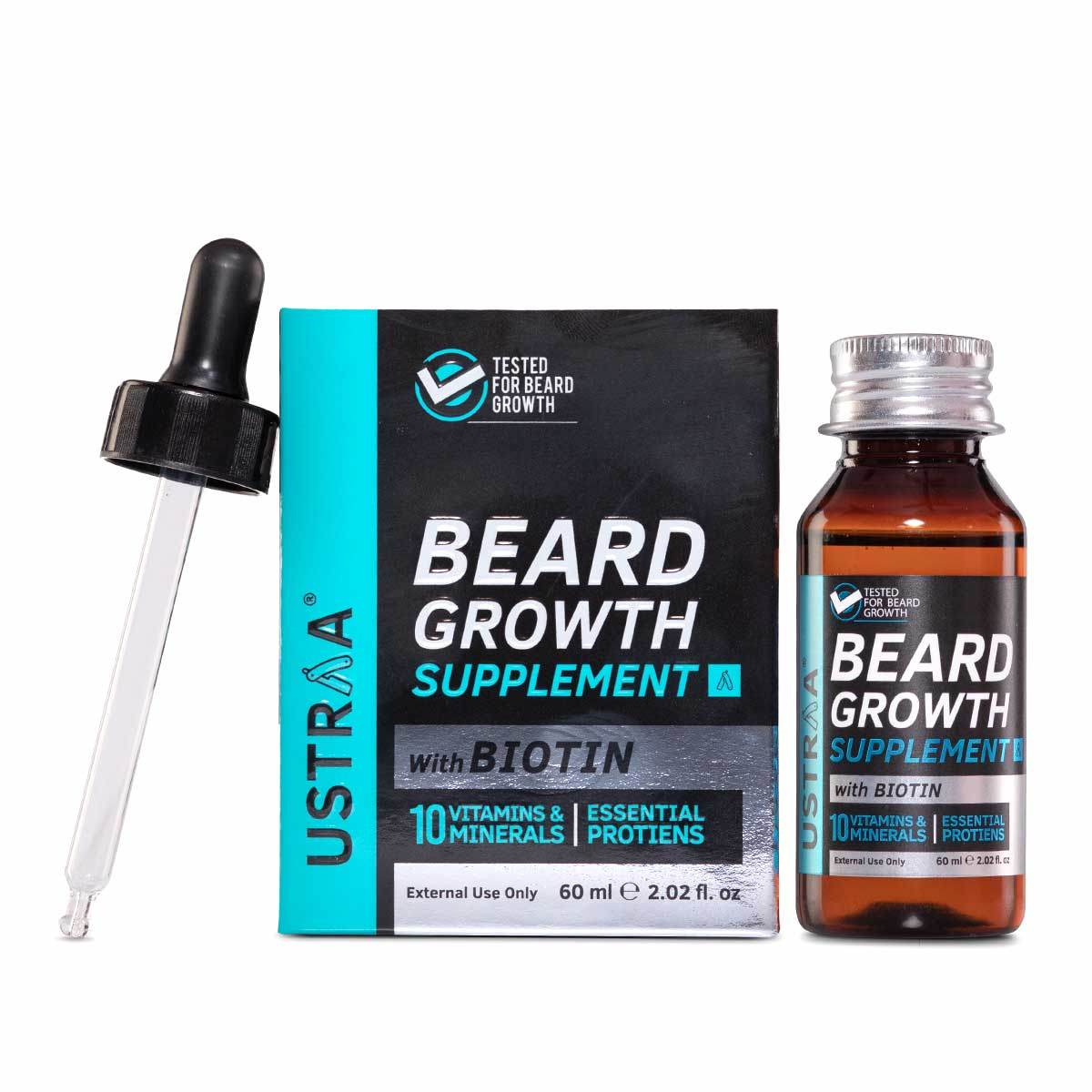Ustraa's Beard Growth Supplement for Men 60 ml - Boosts beard growth and strengthens hair follicles