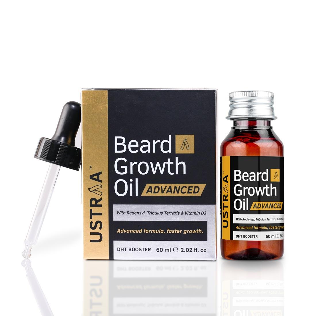Ustraa Beard Growth Oil Advanced - Beard Oil for Patchy Beard Growth, With Redensyl and Testosterone Boosters, 60ml