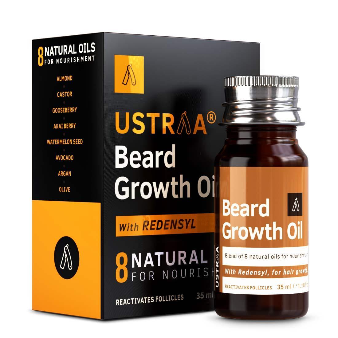 Ustraa Beard Growth Oil, Beard Oil for more Beard Growth with Redensyl, 8 Natural Oils including Jojoba Oil & Vitamin E, 35ml
