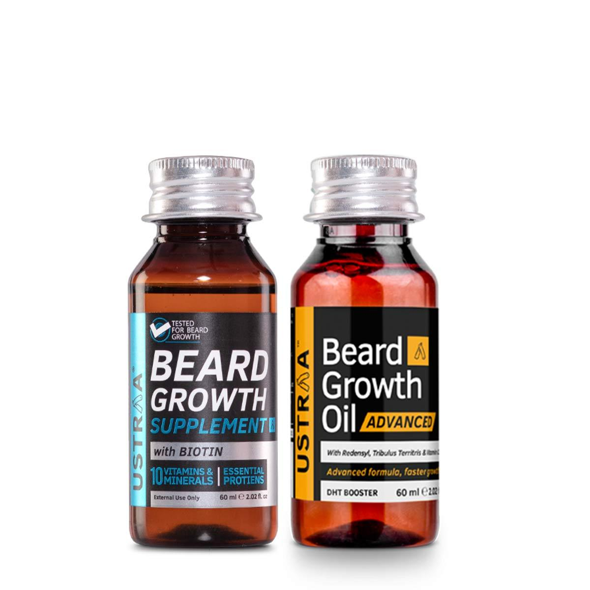 Ustraa Men Complete Beard Growth Booster Pack of 2   Beard Growth Supplement + Beard Growth Oil- Advanced