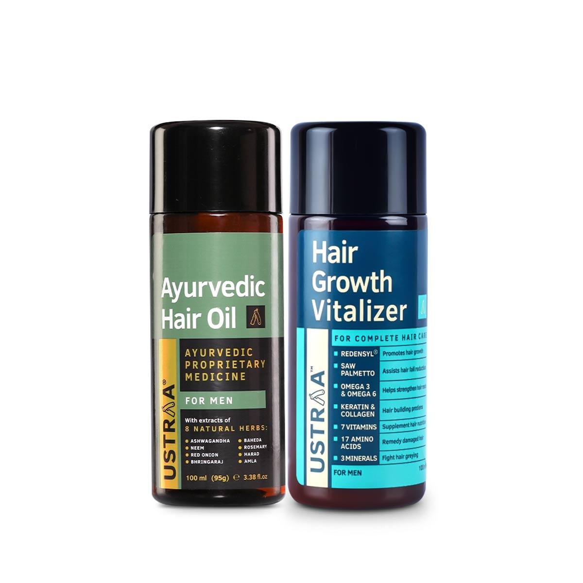 Ustraa Ultimate Hair Care Kit For Men (Set of 2): Hair Growth Vitalizer and Ayurvedic Hair Oil