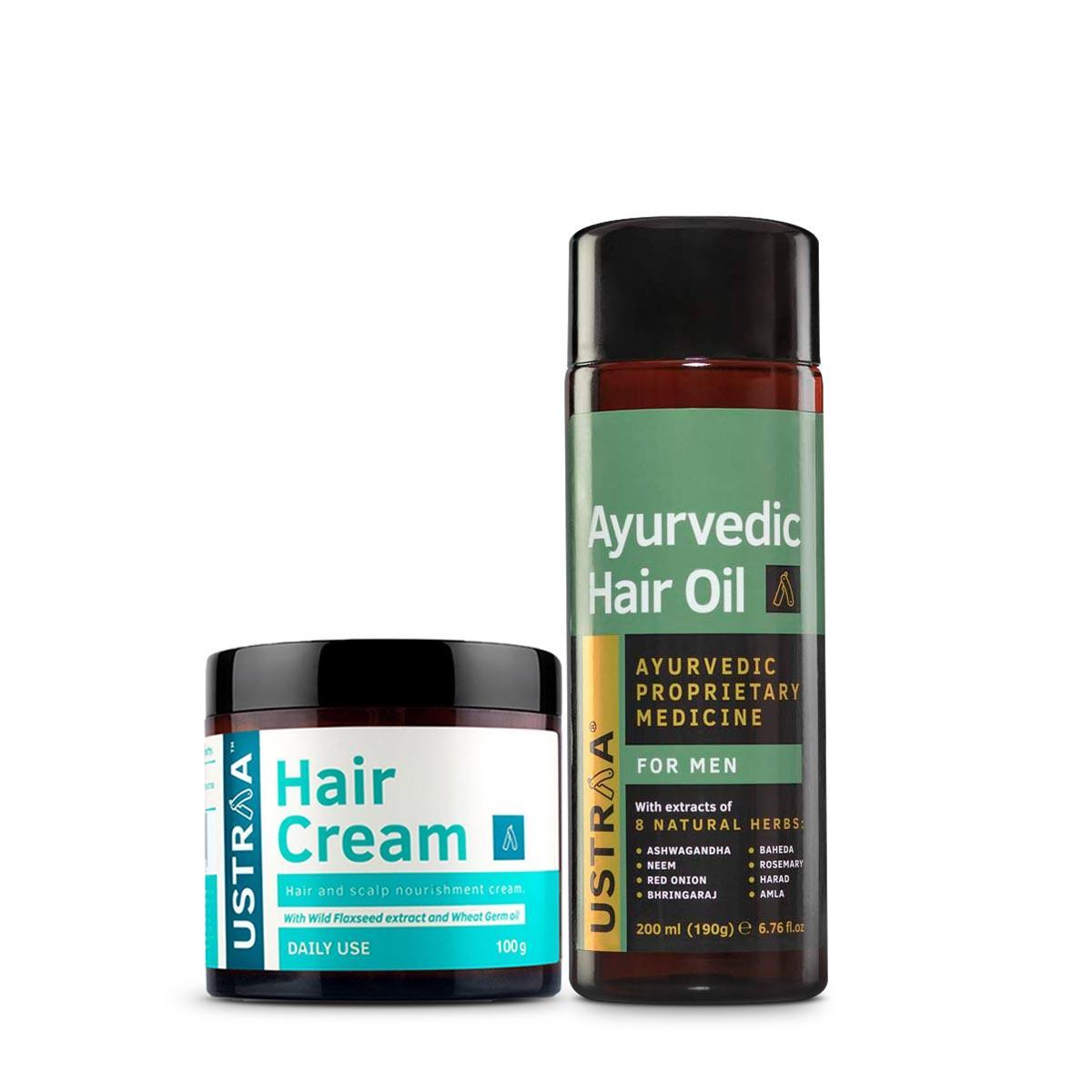 Ustraa Hair Cream- Daily Use + Ayurvedic Hair Oil For Men: Set of 2