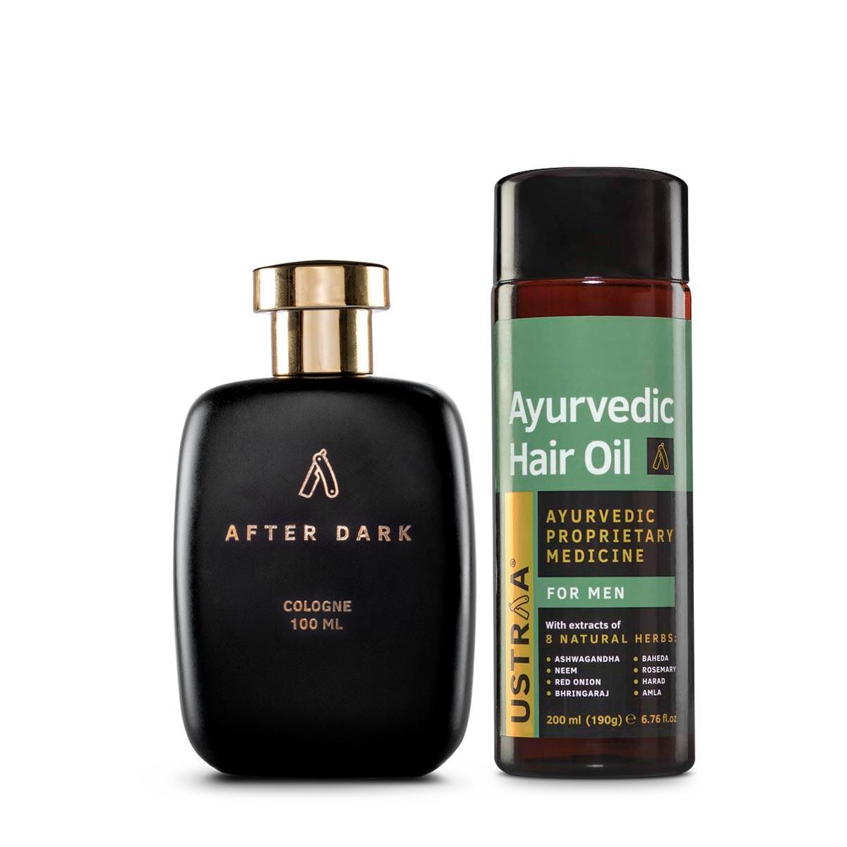Ustraa Ayurvedic Hair Oil + Cologne- Afterdark For Men: Set of 2