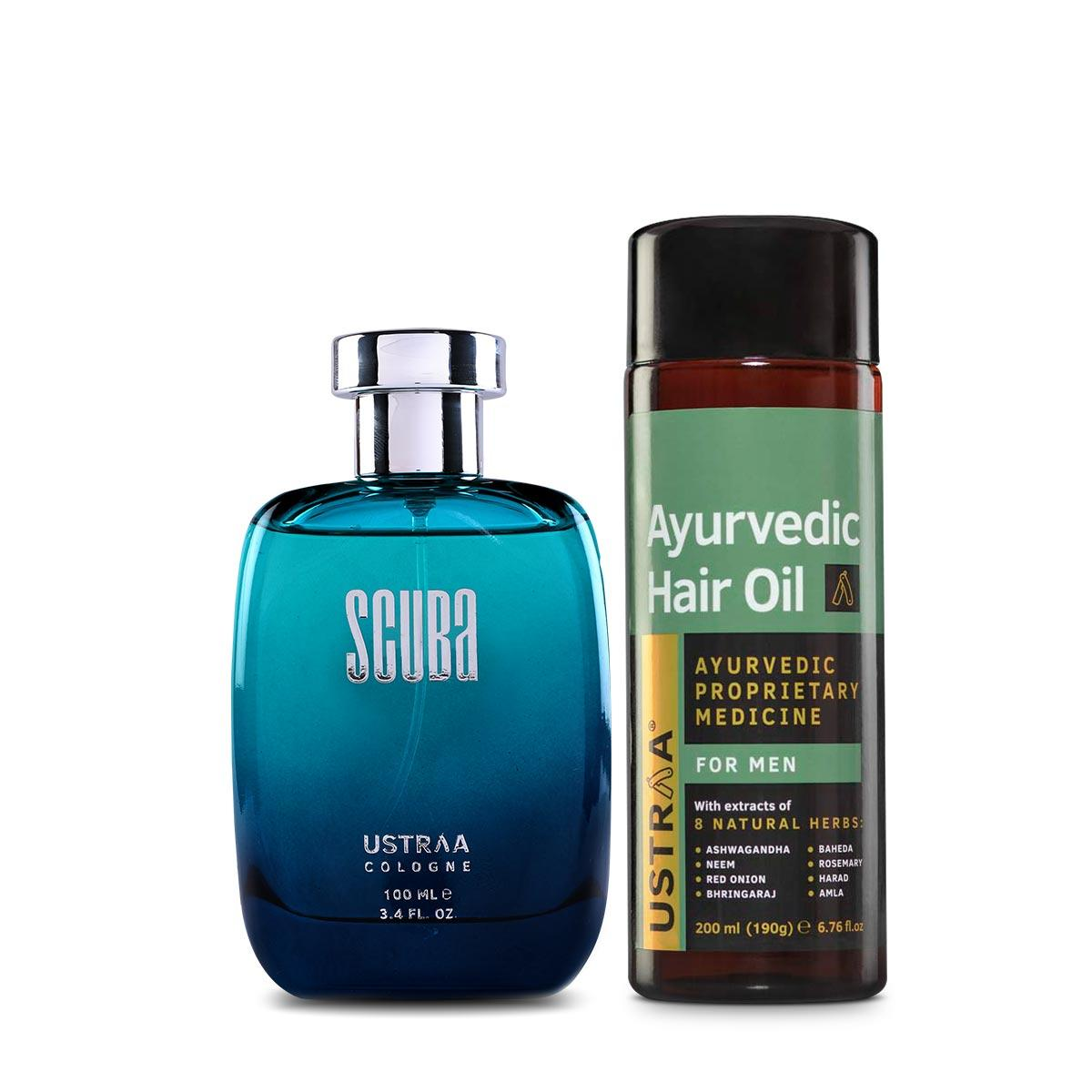 Ustraa Ayurvedic Hair Oil + Cologne- Scuba For Men: Set of 2