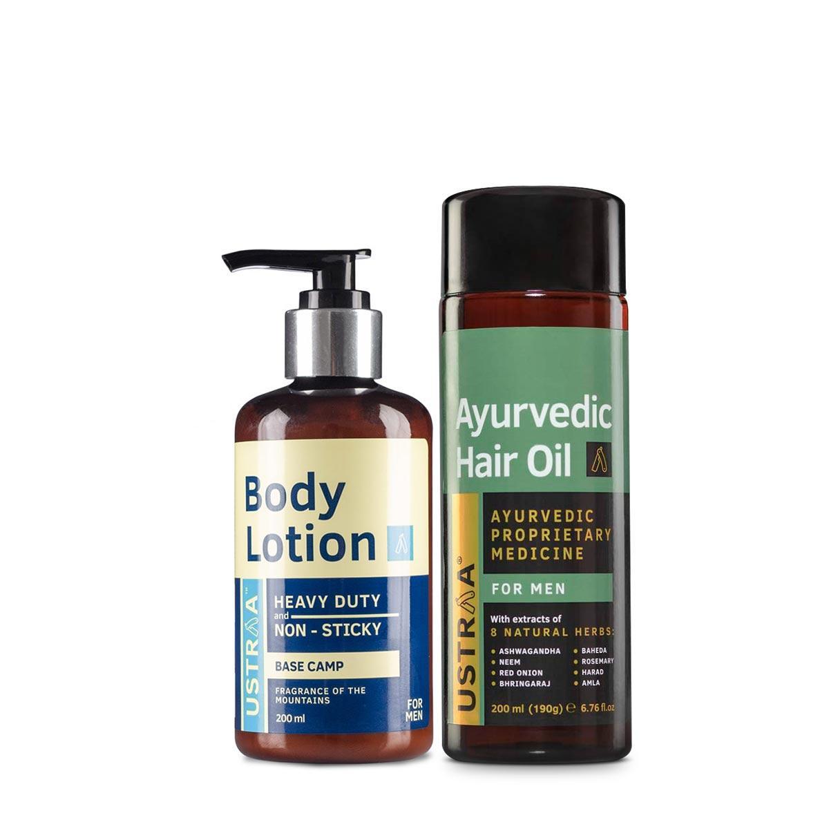 Ustraa Ayurvedic Hair Oil + Body Lotion Combo: Set of 2 For Men