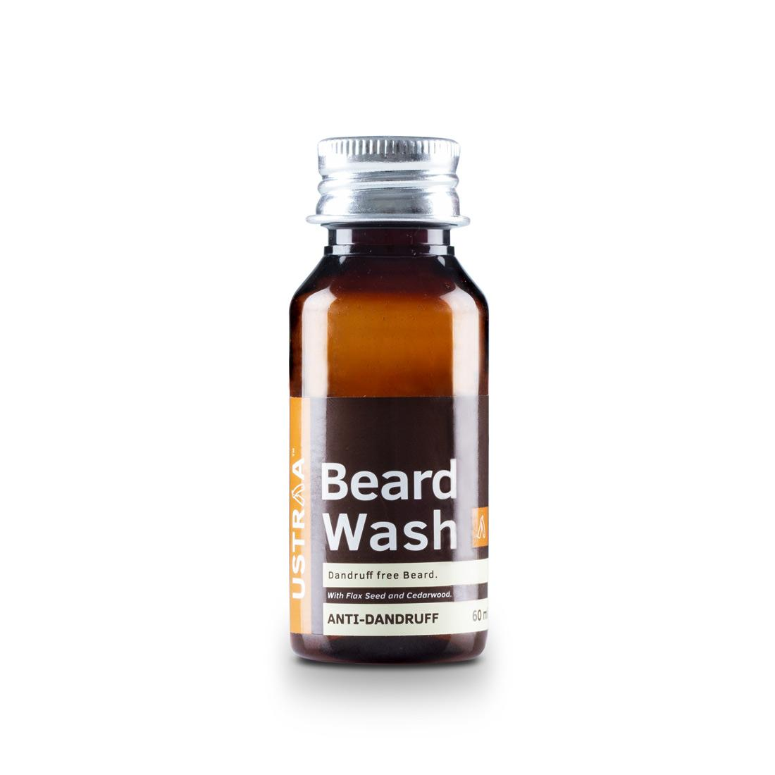 Ustraa Anti Dandruff Beard Wash 60 ml - An Easy to Wash Beard wash with Flax Seed Oil, Cedarwood Oil and Prickly Pear Cactus Extract to Prevent Post Wash Tanning
