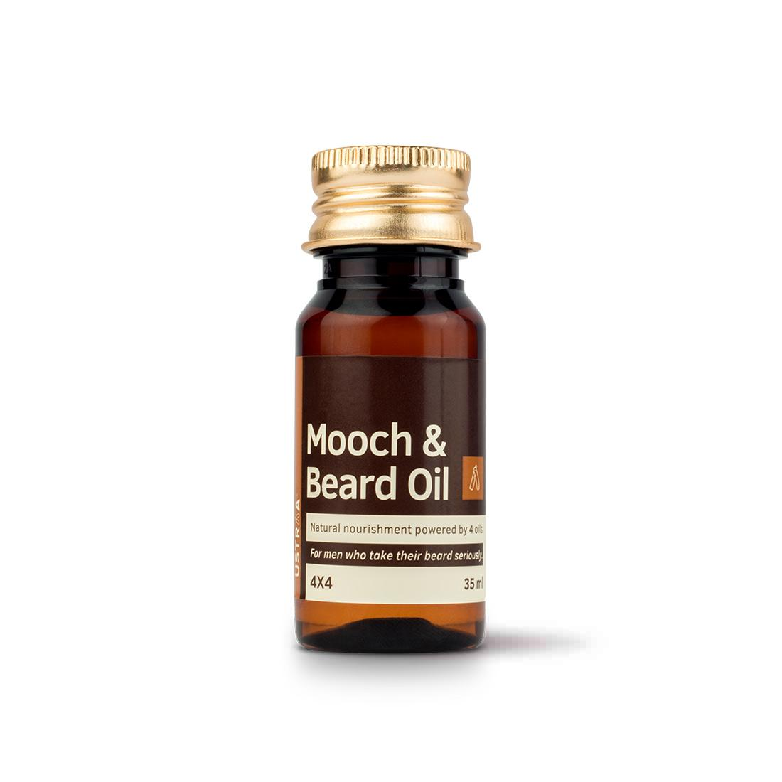 Ustraa Beard & Mooch Oil 4x4 - Mix of Natural Oils - Argan, Sunflower, Lemon, and Vitamin E for Complete Beard Health, Nourishment, and Repair - 35 ml