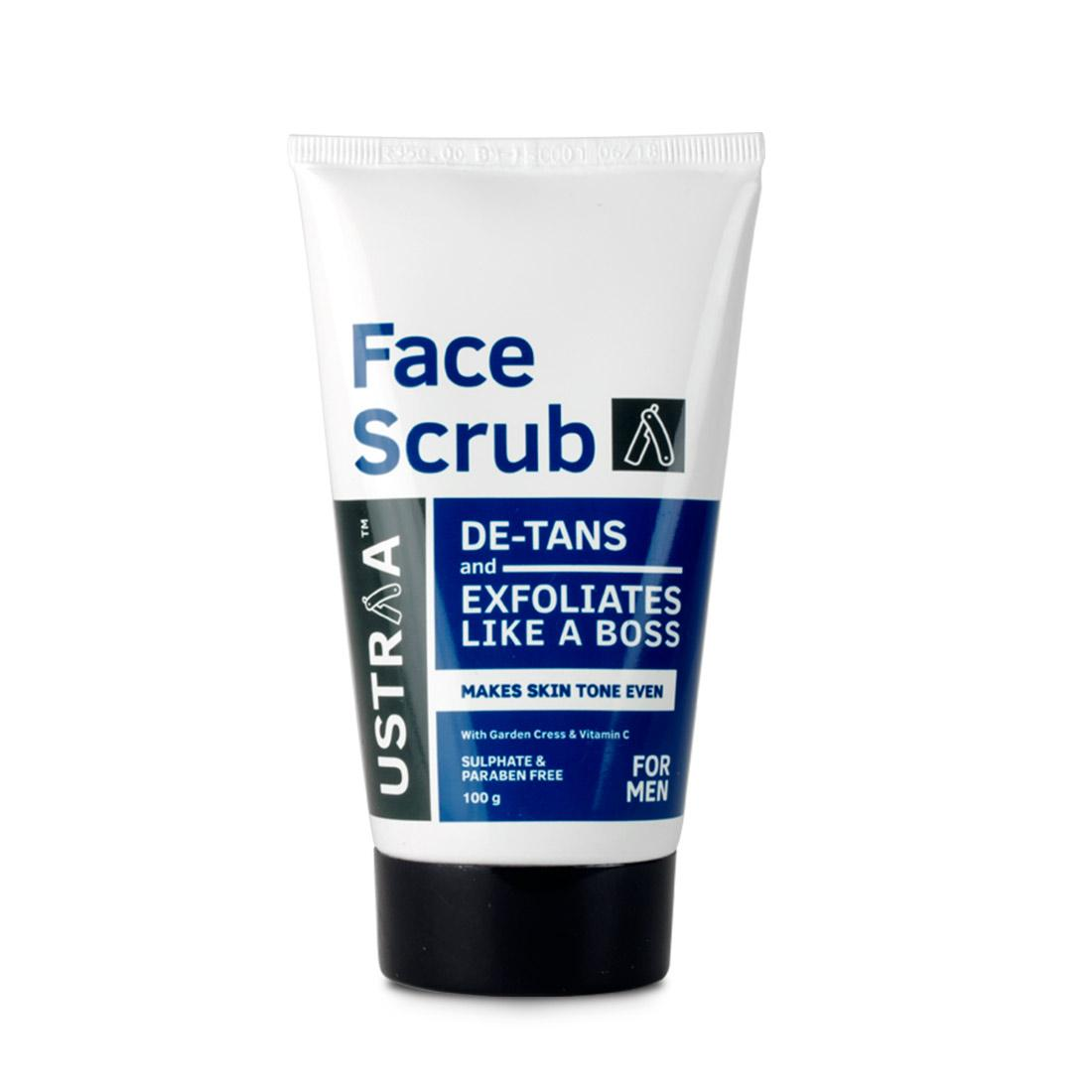 Ustraa De-Tan Face scrub for men, Exfoliation and tan removal with Walnut Granules to reduce dark spots & blackheads, 100g
