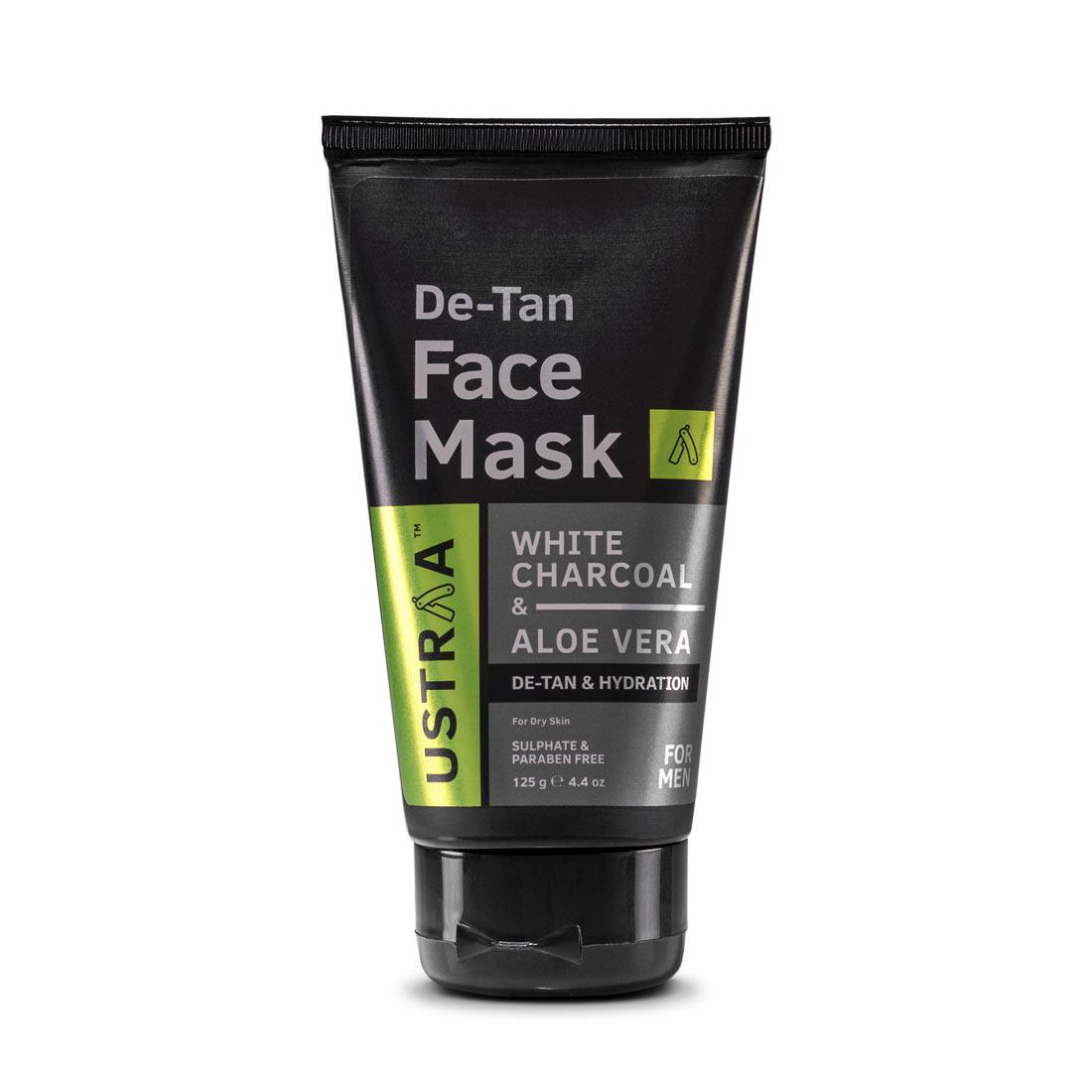 Ustraa De Tan Face Mask for Men with Dry Skin  125 g - For Tan Removal and Even Skin Tone with Kaolin Clay, White Charcoal, Aloe Vera and Olive Oil
