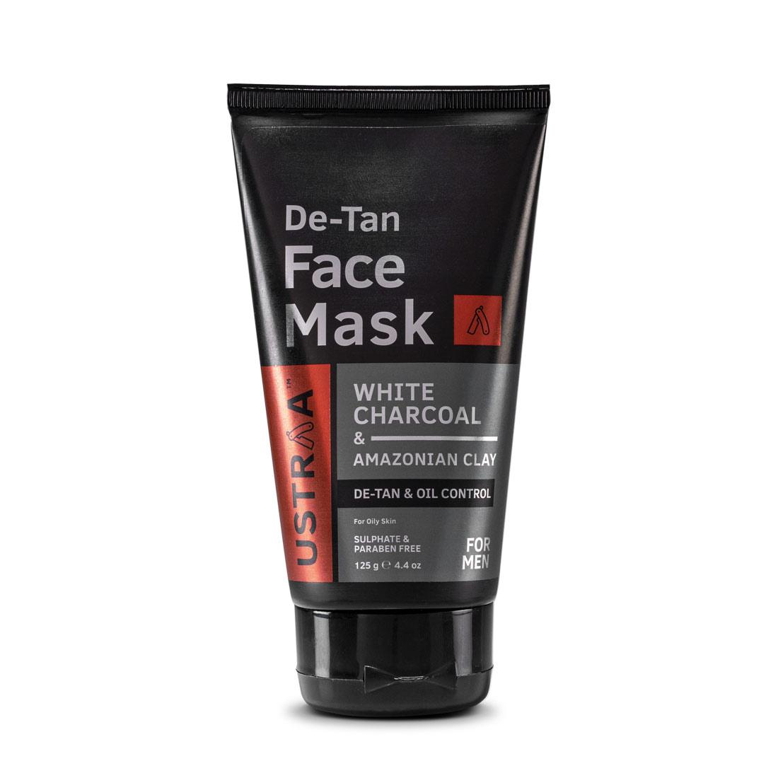 Ustraa De Tan Face Mask for Men with Oily Skin 125 g - For Tan Removal and Even Skin Tone with White Charcoal, Aloe Vera, Kaolin Clay and Olive Oil