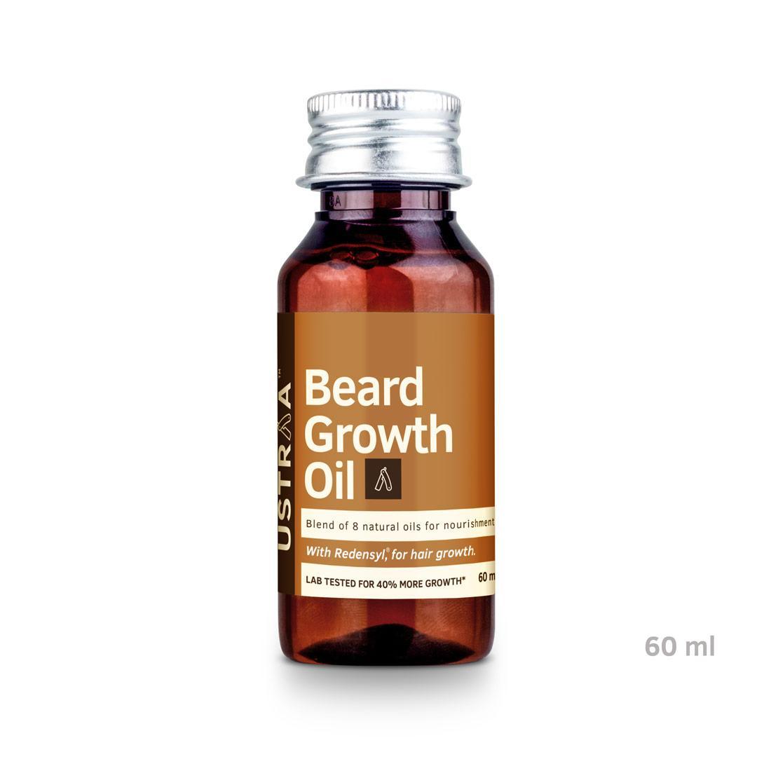 Ustraa Beard Growth Oil, Beard Oil for more Beard Growth with Redensyl, 8 Natural Oils including Jojoba Oil & Vitamin E, 60 ml