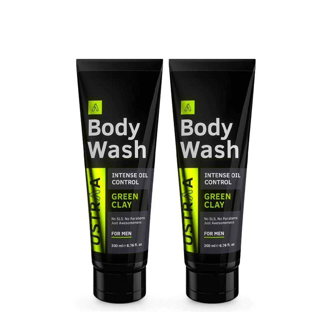 Ustraa Body Wash For Men (Set of 2): With Green Clay and Menthol