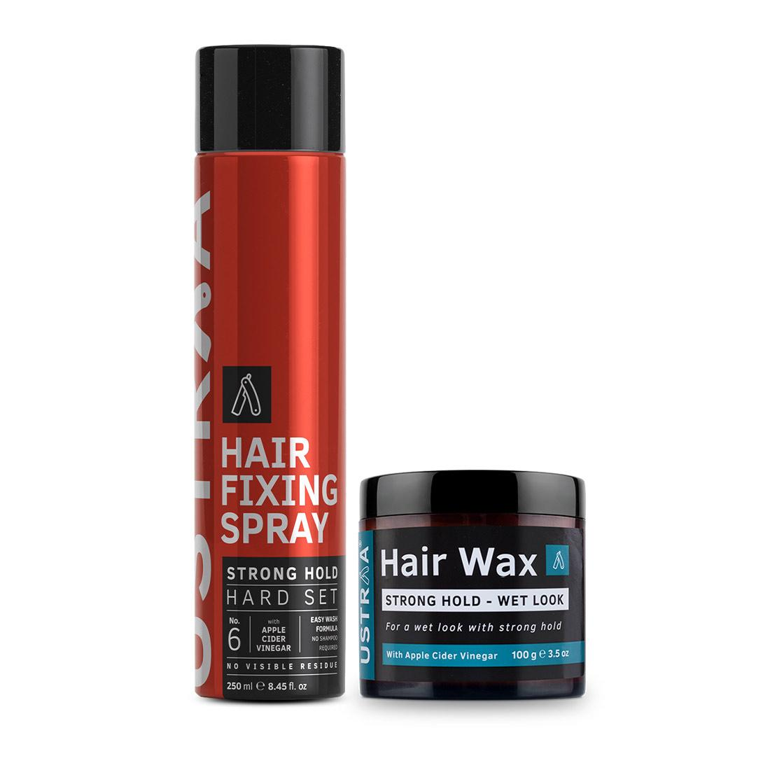 Ustraa Hair Styling Kit For Men (Wet Look): Hair Wax and Hair Fixing Spray
