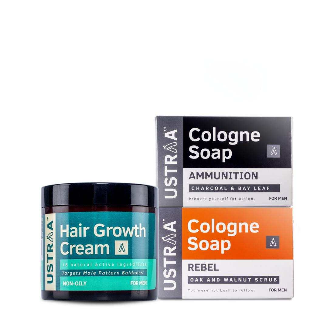 Hair Growth Cream and 2 Ustraa Cologne Soaps