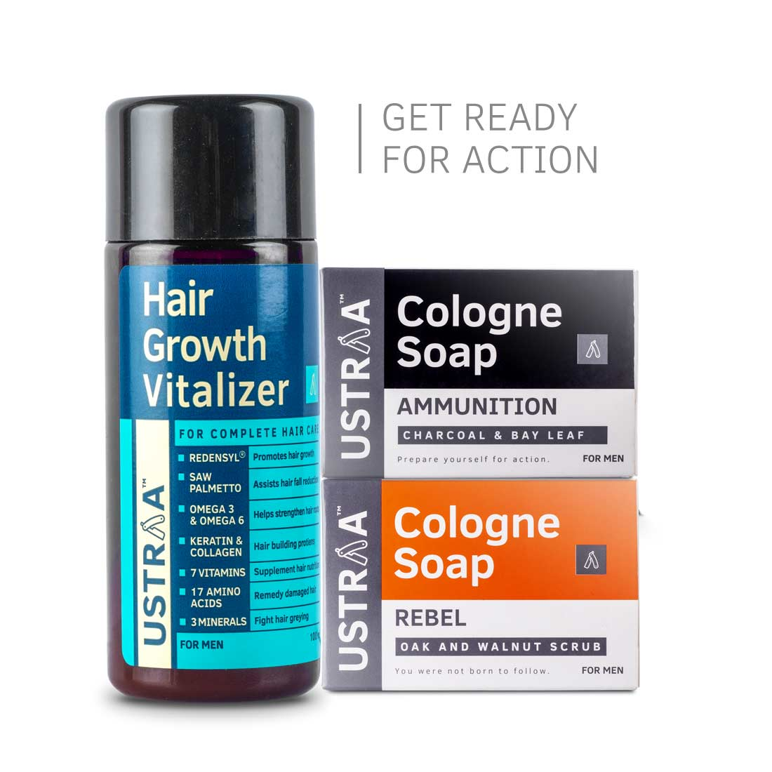 Hair Growth Vitalizer and 2 Cologne Soaps
