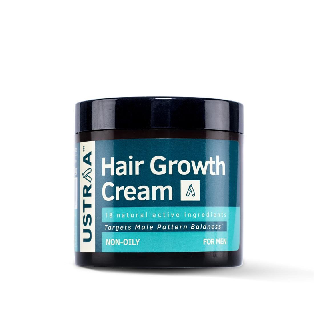 Ustraa Onion Hair Growth Cream with Blackseed Oil, Neelbhrigandi, Onion Extract and 4 essential oils to fight hair fall & male pattern baldness, 100g