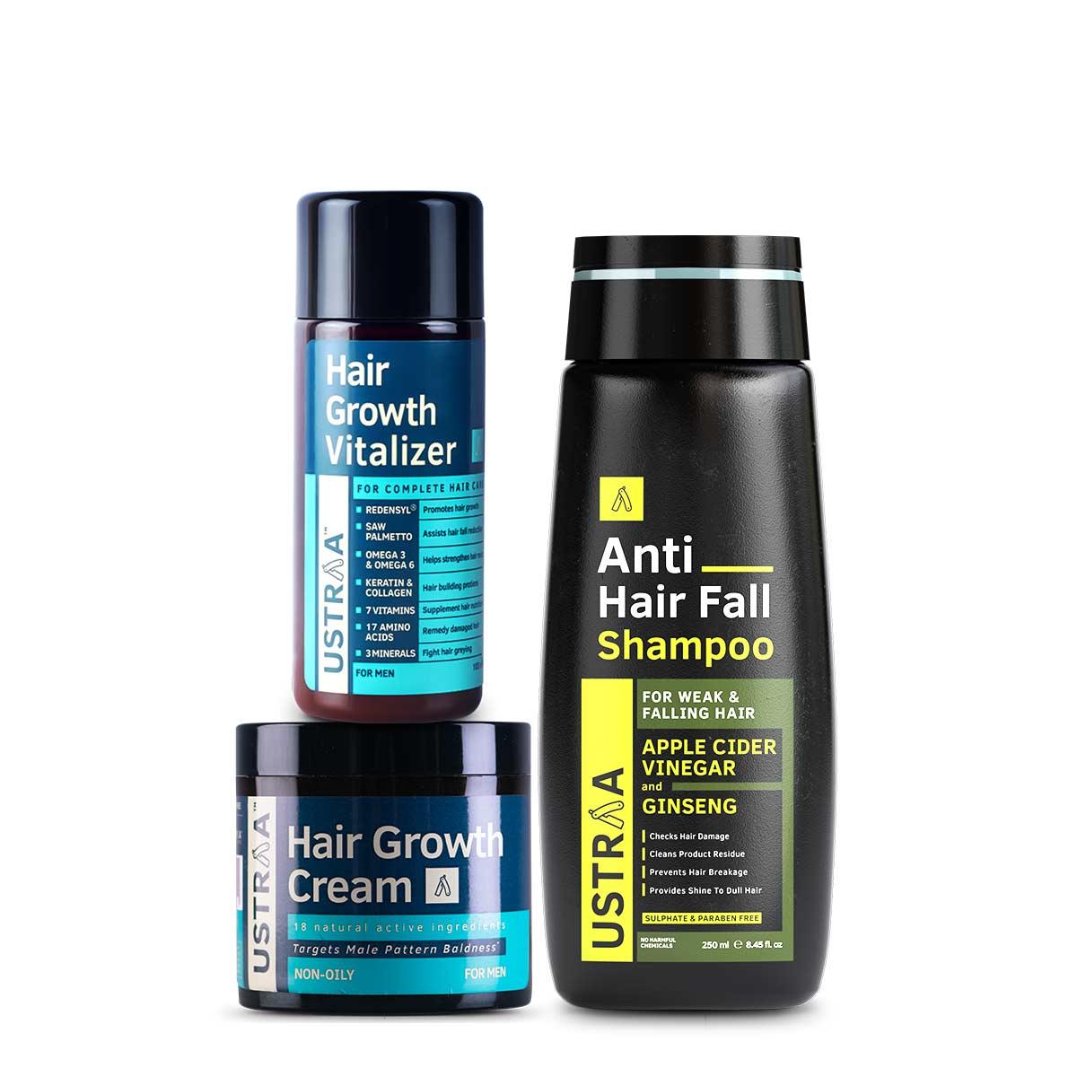 Ustraa Ultimate Hair Growth Kit for Men (Set of 3): Hair Growth Vitalizer + Hair Growth Cream + Anti-Hairfall Shampoo