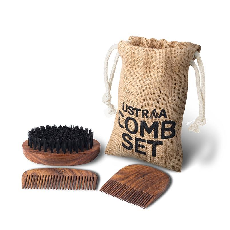 Ustraa Beard Comb Set (Set of 3) - Made Out of Natural Treated Sheesham Wood