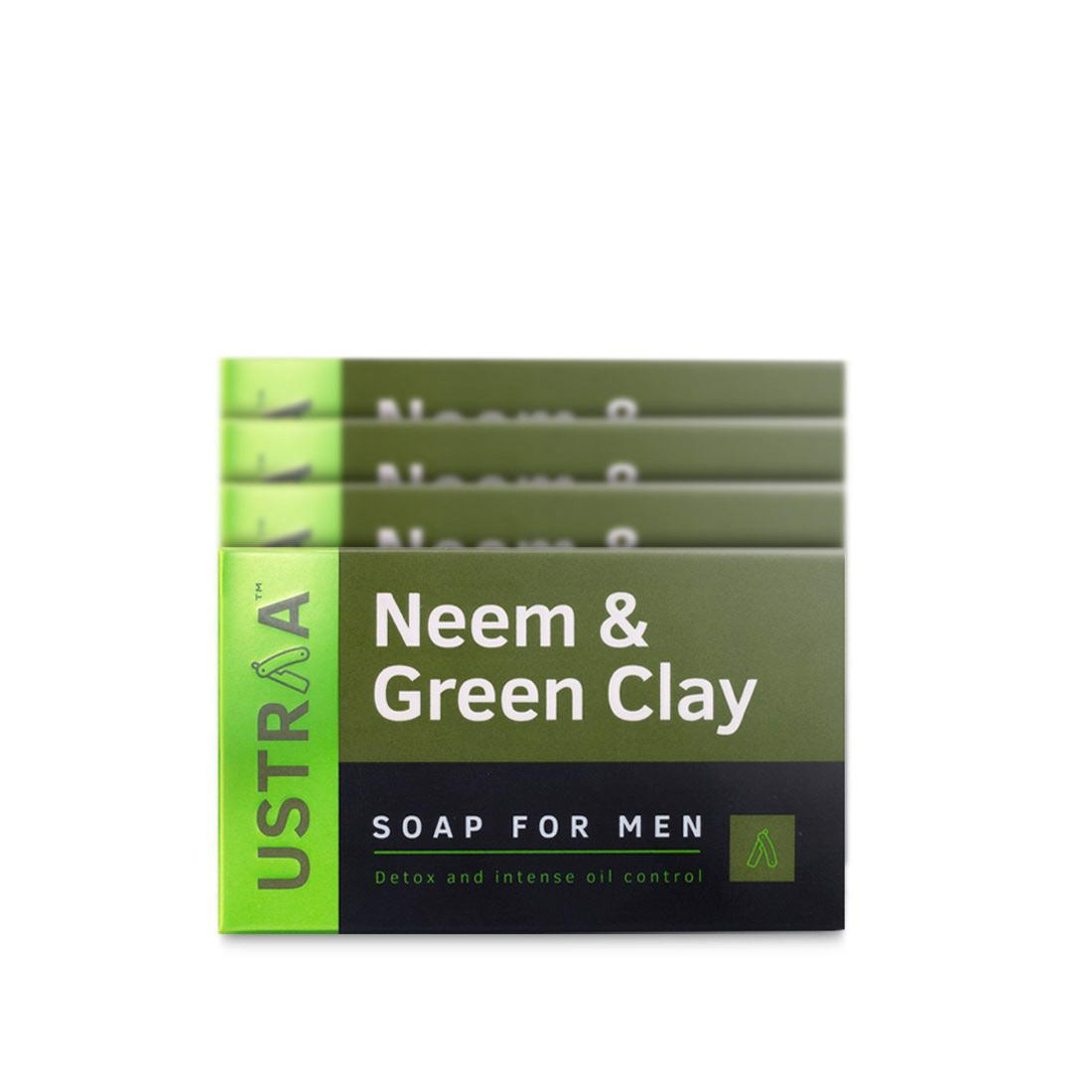 Ustraa Neem and Green Clay Soap For Men (Pack of 4, 100g): With Anticatrial and Antifungal Properties