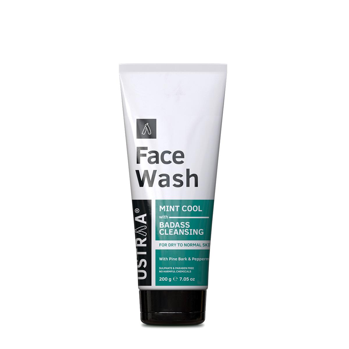 Ustraa Mint Cool Face Wash 200 g - For Dry Skin, With Peppermint, Glycerine and Coconut Derivatives for Intense Moisturization