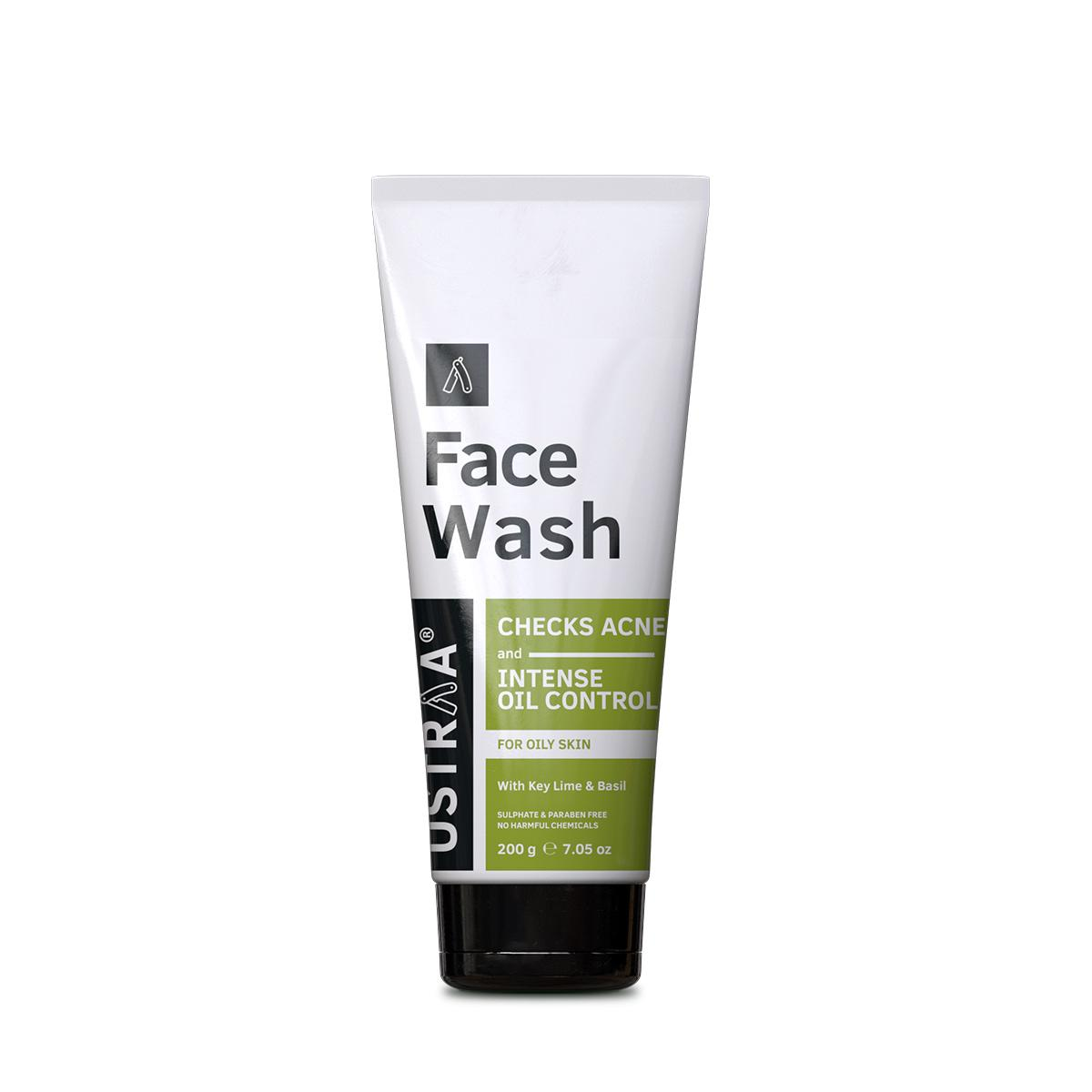 Ustraa Face Wash - for Oily and Acne Prone Skin - Sulphate & Paraben Free - Checks Acne and Blackheads - 200g