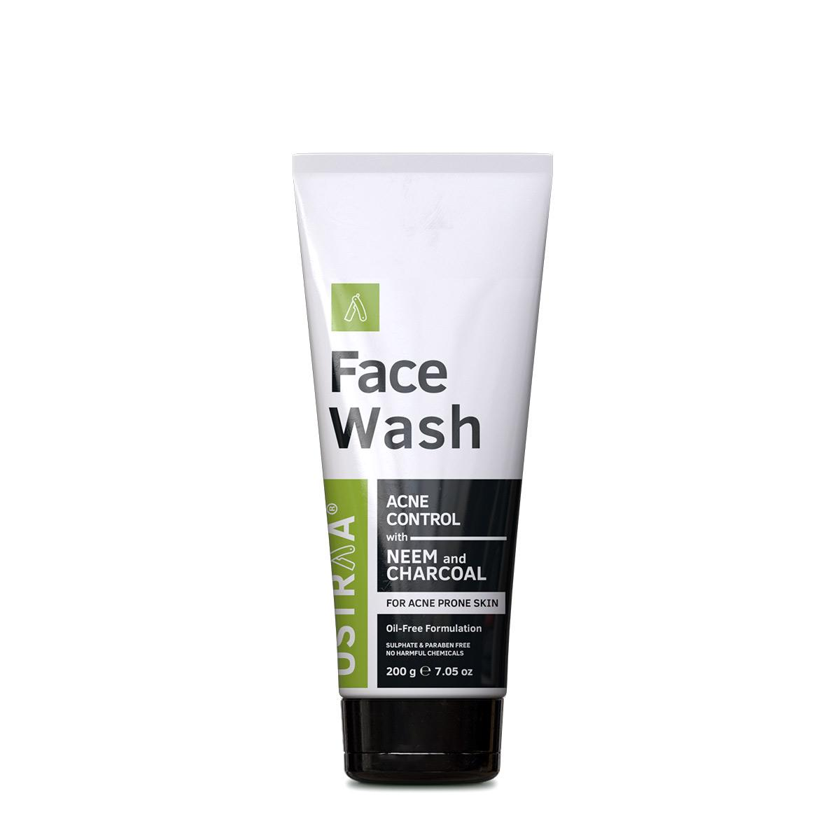 Ustraa Men's Face Wash 200 g - A Face Wash for Acne prone men with Neem and Charcoal for Acne Control