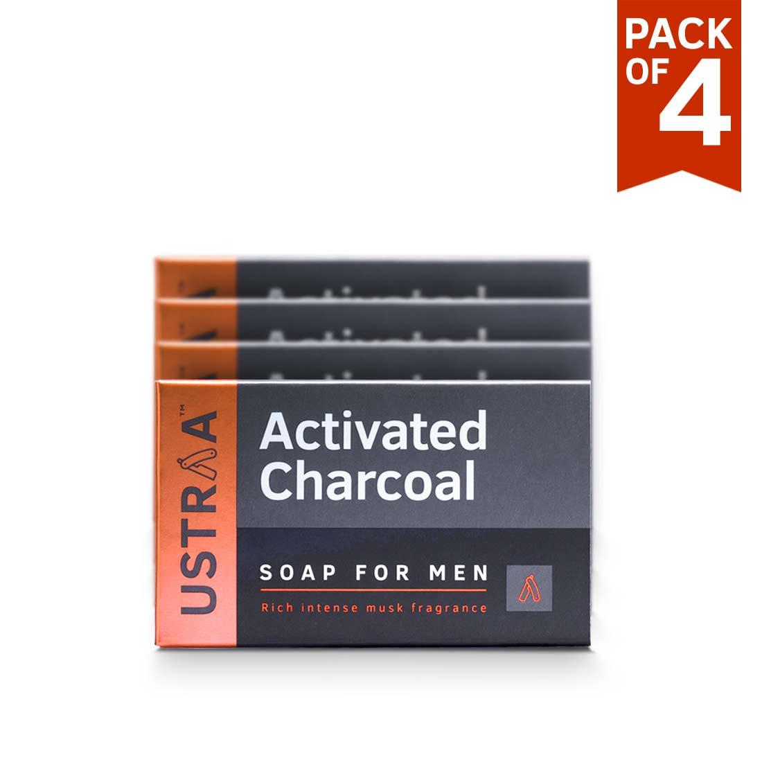 Ustraa Deo Soap for Men with Activated Charcoal (100g): Pack of 4