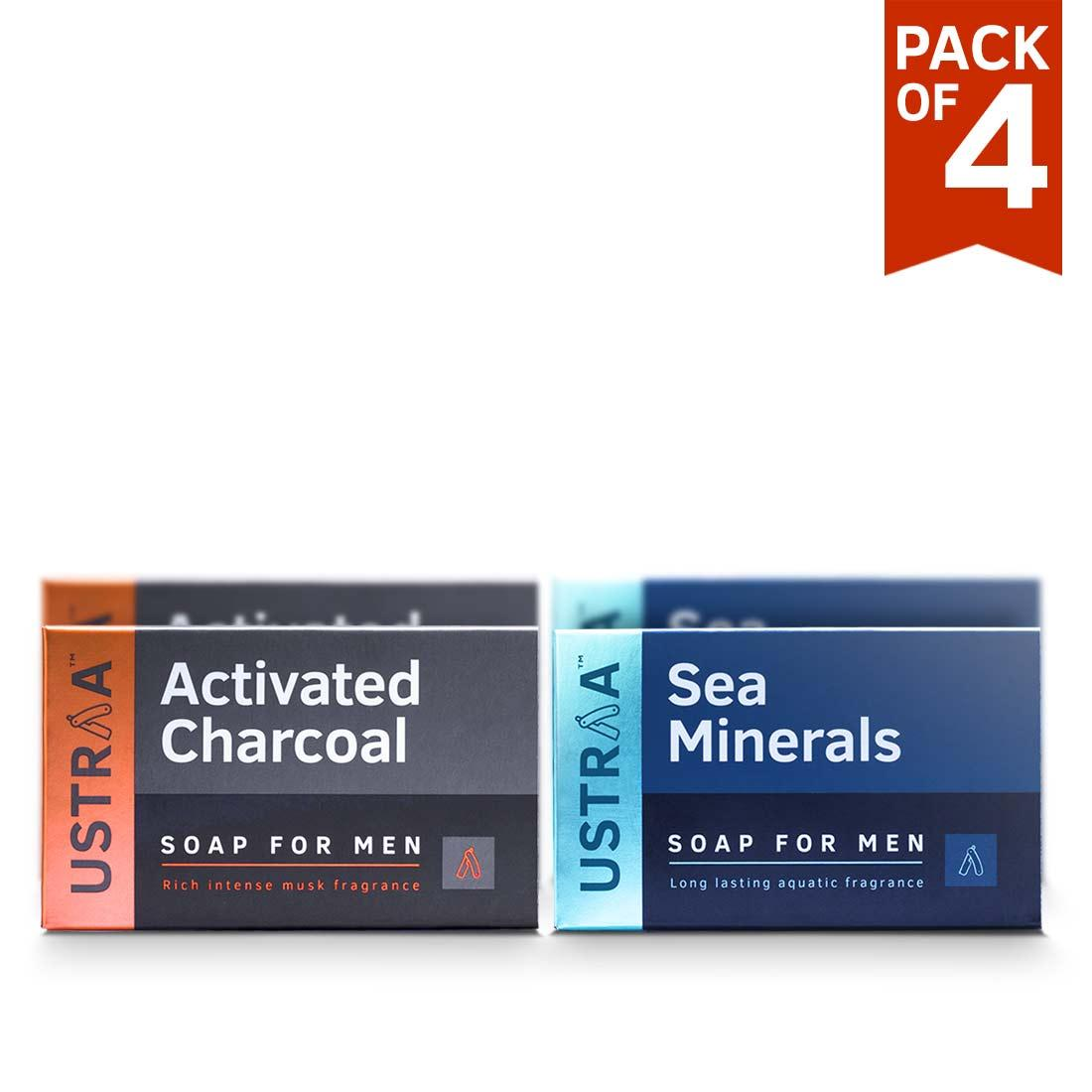 Ustraa Deo Soap for Men with Sea Minerals & Activated Charcoal, 100 g (Pack of 4)